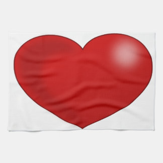Red Glossy Valentine Heart Towels