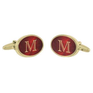 Red Glow Gold Monogram Gold Finish Cuff Links