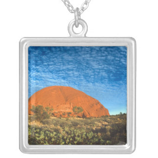 Red Glow of the Famous Ayers Rock in the Outback Square Pendant Necklace