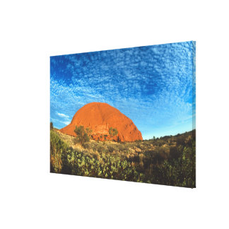 Red Glow of the Famous Ayers Rock in the Outback Stretched Canvas Print