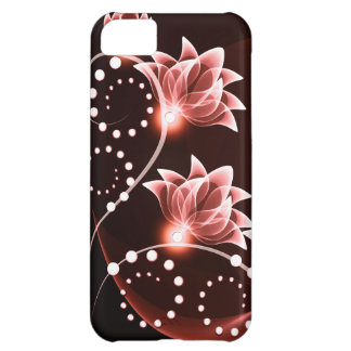 red glowing flowers and swirls and dots case for iPhone 5C
