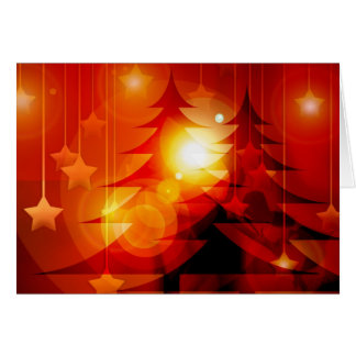 Red glowing light and trees on Christmas card