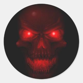 Red Glowing Skull Round Sticker
