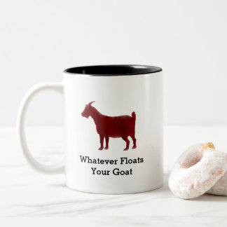 Red Goat Watercolor Floats Your Goat Two-Tone Coffee Mug