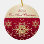 Red, Gold 1st Christmas Keepsake Ornament