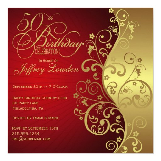 Red & Gold 50th Birthday Party Invitation