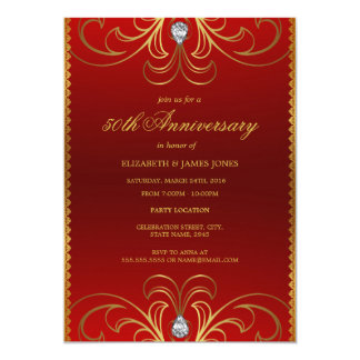 Red & Gold 50th Wedding Anniversary Invitation