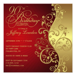 Red Gold 90th Birthday Party Invitation
