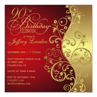 Red & Gold 90th Birthday Party Invitation