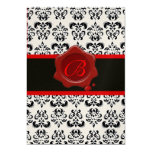 RED, GOLD AND BLACK DAMASK ,WAX SEAL MONOGRAM CUSTOM INVITES