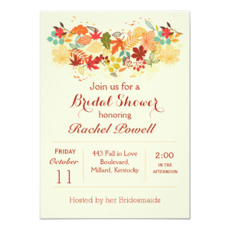 Red, gold and brown autumnal leaves Bridal Shower 4.5x6.25 Paper Invitation Card