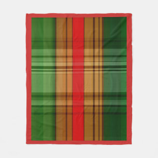 Red Gold and Green Plaid Fleece Blanket