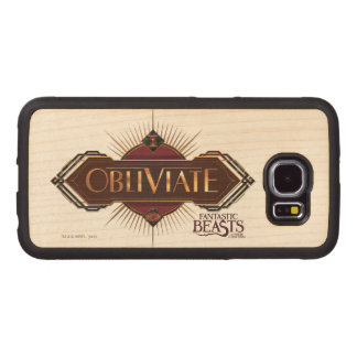 Red & Gold Art Deco Obliviate Spell Graphic Wood Phone Case
