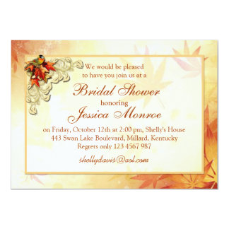 Red gold autumn leaves and bird Bridal Shower Card
