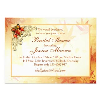 Red gold autumn leaves and bird Bridal Shower Personalized Invitations