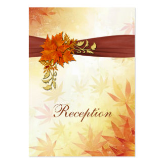 Red & gold Autumnal leaves Wedding Reception Card Large Business Cards (Pack Of 100)
