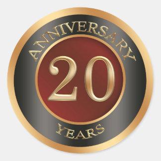 Red, gold, black 20th Wedding Anniversary Sticker