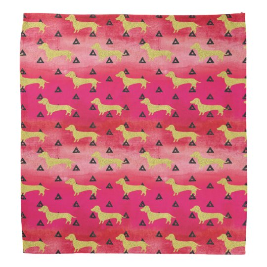 Red/Gold/Black Dachshund & Triangles Pattern Bandana