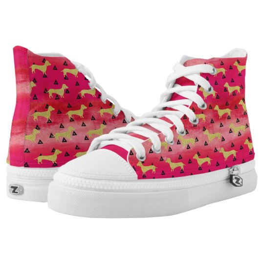 Red/Gold/Black Dachshund & Triangles Pattern High Tops