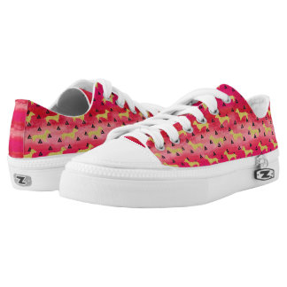 Red/Gold/Black Dachshund & Triangles Pattern Low Tops