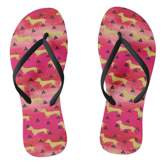 Red/Gold/Black Dachshund & Triangles Pattern Thongs