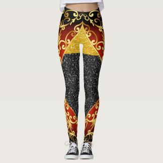 Red Gold Black Pop Fashion Leggings