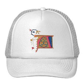 Red Gold Blue Ornate Monogram A Cap