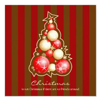 Red & Gold Bubbles Christmas Tree 13 Cm X 13 Cm Square Invitation Card