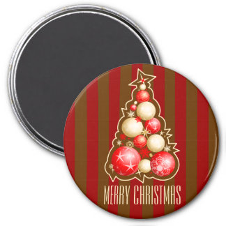 Red & Gold Bubbles Christmas Tree 7.5 Cm Round Magnet