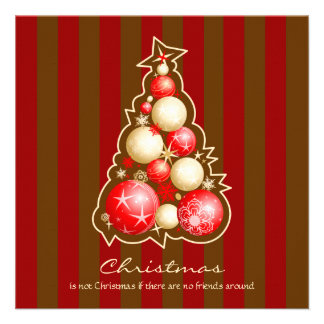 Red & Gold Bubbles Christmas Tree Invites