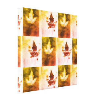 Red Gold Canada Maple Leaf Organic Nature Pattern Canvas Print