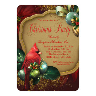 Red Gold Cardinal Corporate Christmas Party Card