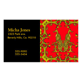 Red & Gold Celtic Ornamental Birds Double-Sided Standard Business Cards (Pack Of 100)