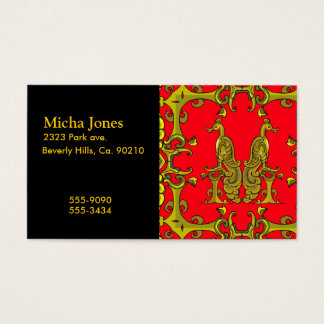 Red & Gold Celtic Ornamental Birds Business Card