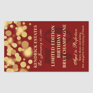 Red Gold Champagne Bubbles Birthday Label 750ml Rectangular Sticker