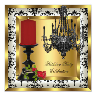 """Red Gold Chandelier Rose Candle Birthday Party 2 5.25"""" Square Invitation Card"""
