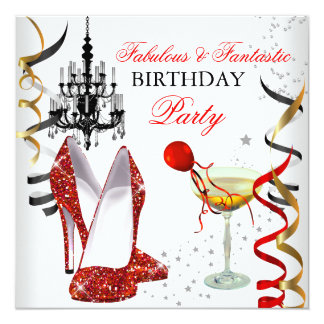 RED Gold Chandelier White Champagne Party 2 5.25x5.25 Square Paper Invitation Card