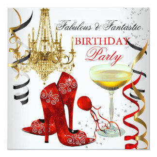 RED Gold Chandelier White Champagne Party 5.25x5.25 Square Paper Invitation Card