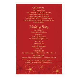 Red & Gold Cherry Blossoms Wedding Program Card