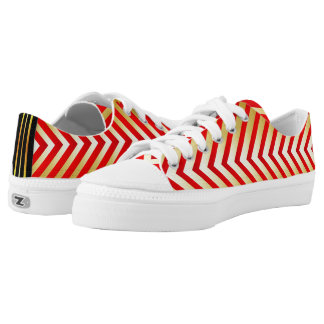 Red & Gold Chevron Style Pattern Low Tops