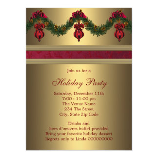 Red Gold Christmas Holiday Party 17 Cm X 22 Cm Invitation Card