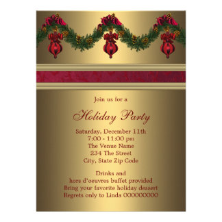 Red Gold Christmas Holiday Party Invite