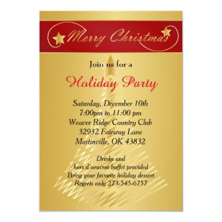 """Red Gold Christmas Holiday Tree 5"""" X 7"""" Invitation Card"""