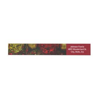 Red & Gold Christmas Ornaments Tree Wrap Address Wraparound Address Label