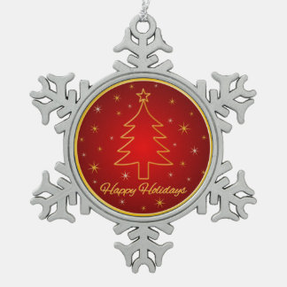 Red Gold Christmas Tree Outline Snowflake Ornament