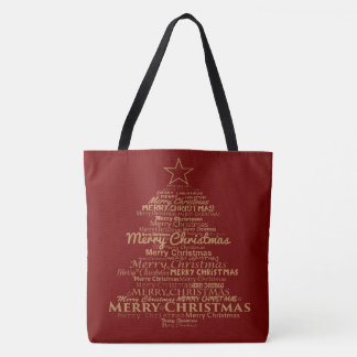 Red gold Christmas tree tote bag