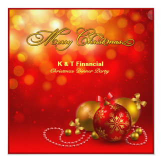 Red & Gold Company Christmas Party 13 Cm X 13 Cm Square Invitation Card