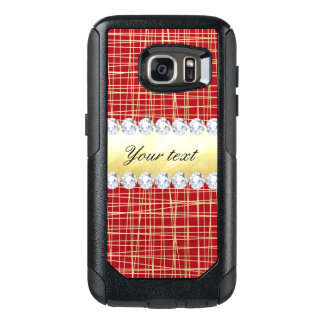 Red Gold Crisscross Lines and Diamonds OtterBox Samsung Galaxy S7 Case