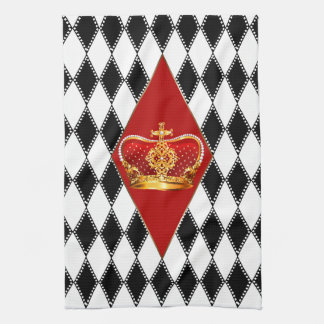 Red gold Crown & black and white Diamonds Hand Towel