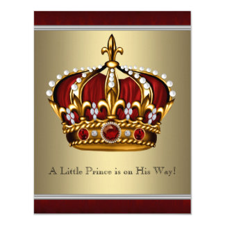 Red Gold Crown Prince Boy Baby Shower Card